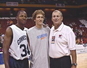 Ray Allen, Sheffer and Coach Jim Calhoun Photo: University of Connecticut Communications
