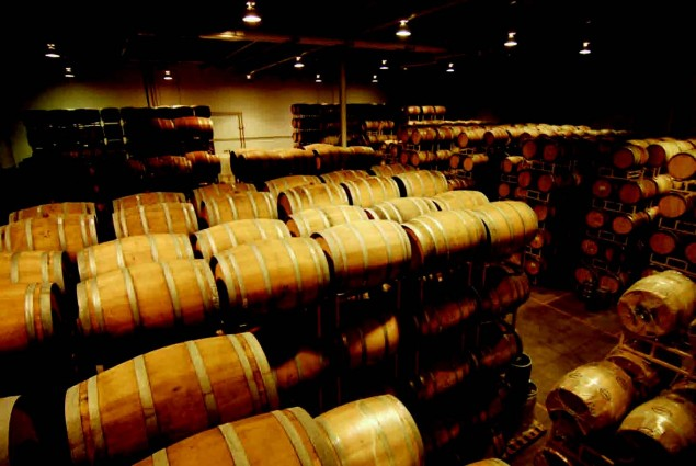 In some wineries, after the wine is fermented, it is placed in wooden barrels to age.