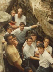 On a hike with his beloved campers in Camp Agudah, circa 1980.