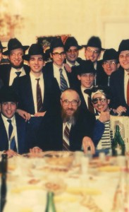 With Torah Vodaath students at a Purim seudah, circa 1985.