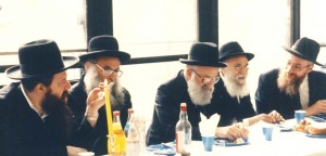 "With roshei yeshivah of Torah Vodaath; Rabbi Belsky is on the far right seated next to Rabbi Avraham Pam, zt""l, former rosh yeshivah of Torah Vodaath."
