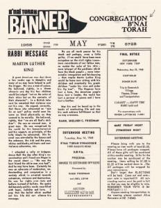 A 1968 shul bulletin with a eulogy for Martin Luther King on the front page. The bulletin is from Congregation B'nai Torah of Philadelphia, an Orthodox shul.
