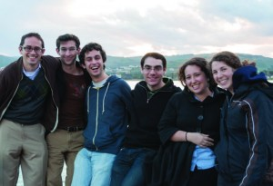 Rabbi Noah Cheses ( far left), JLIC educator at Yale, together with his students on a Tanach study trip in Israel. Photo courtesy of Rabbi Cheses