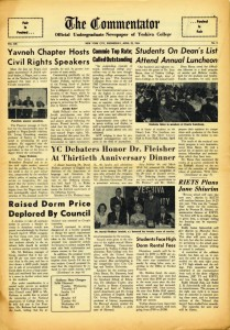 Yeshiva College students traveled to Greensboro, North Carolina to protest racial bigotry and addressed civil rights issues in the pages of The Commentator, the student newspaper. Photo: Yeshiva University Archives, Commentator, May 5, 1960