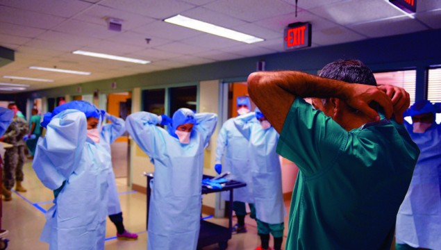 A training session at the San Antonio Military Medical Center in San Antonio, Texas, preparing students in the event of an Ebola crisis in the U.S. Photos courtesy of the Centers for Disease Control and Prevention/Public Health Image Library
