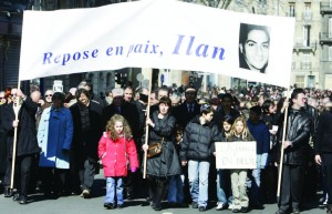 Demonstration in tribute to kidnapped, tortured and murdered Ilan Halimi and to protest against racism and anti-Semitism on February 26, 2006, in Bordeaux, France. Photo: Jean-Pierre Muller/AFP/Getty Images