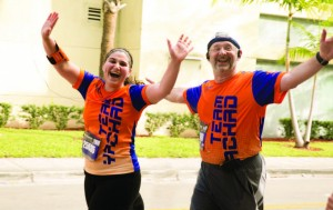 Dr. Nachum Katlowitz, who started running in his mid-fifties, with daughter Adira.  Photos: Sam Ulrich