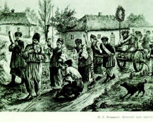 """During the second half of the nineteenth century, Ukrainian wedding celebrations would extend for a number of days and on the last day of the celebration, it was the custom that parents be wheeled on a wagon to the local inn where they would frolic with their friends and family. """"Woodcut from a painting,"""" by Heorhii Bilashchenko, dated 1889, shows the parents being wheeled around the village wearing wreaths on the last day of the wedding celebration. Courtesy of theUkrainian Museum and Library of Stamford, Connecticut/Lubow Wolynetz, curator and librarian"""