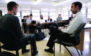 Yeshiva University's rabbinic training program enlists professional actors to simulate real-life situations that a future rabbi may face over the course of his career.  Photo courtesy of Yeshiva University