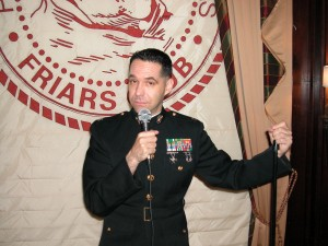 Dave Rosner, a ba'al teshuvah, bills himself as the only Orthodox member of the Marines who makes his living doing comedy. Photo courtesy of Dave Rosner