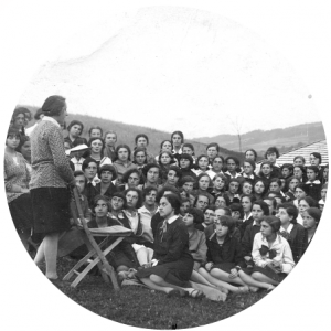 Pupils in the Bais Yaakov religious girls' seminary of Krakow during a visit to Rabka, Poland, interwar period. Courtesy of the Ghetto Fighters' House Archive